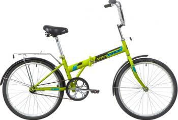 """Велосипед NOVATRACK 24"""" складной, зеленый, тормоз V-Brake задний ножной, багажник, крылья"""