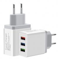 Зарядное устройство ЗУ TRAVEL Charger, с тремя USB разьёмами, 3.0А