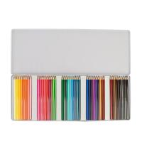 Карандаши, 50 цветов, в металлическом пенале, заточенные, шестигранные