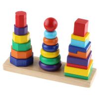 Пирамидки 3в1 деревянные на подставке ТТ-006