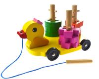 Сортер-машинка Утка на колесиках дерево
