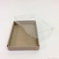 Коробка подарочная гофро картон +прозрачная крышка