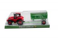 Набор трактор с ковшом зеленый красный и прицепом 4466A