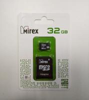 Флеш карта памяти Micro SD 32GB + SD адаптер Mirex Class 10