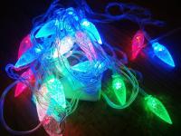 Гирлянда в форме ШИШЕК, ЛАМПОЧЕК, ЗВЁЗДОЧЕК разноцветная светодиодная (3 метра, 40 лампочек)