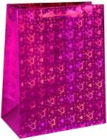 Пакет голография 12 х 15 х 6 см, цвет розовый, рисунок МИКС