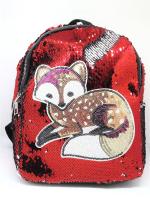 Детский подростковый рюкзак с пайетками 30*20*10 аппликация Зайчик Лисичка