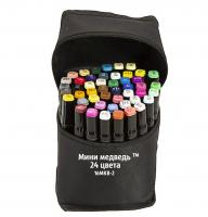 Фломастеры для скетчинга Мини Медведь в черном чехле 24 цвета 16MKB-2