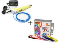 ПРОМОНАБОР 3D ручка 3Dpen-2 с дисплеем, цвета микс + UNID Набор пластика для 3D ручек: PRO9 + органайзер + головоломка в ПОДАРОК (по 10м. 9 цветов в коробке)