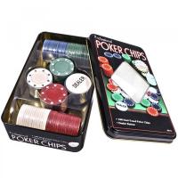 Набор фишек для покера в прямоугольной коробке ( фишки 100 шт) 11,5х20 см