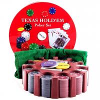 Набор для покера в круглой коробке (карты 2 колоды, фишки 240 шт) 60х90 см