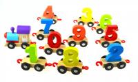 Игрушка деревянная Поезд Паровоз вагончики с цифрами 1070