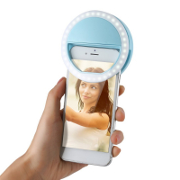 Светодиодное селфи лампа-кольцо, с прищепкой, на батарейках, для телефона или смартфона, для фотографий selfie.