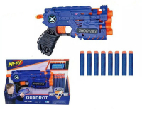 Пистолет бластер Quadrot с мягкими пулями 8 зарядов
